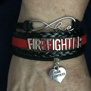 Firefighter Black and Red Leather Braided Bracelet